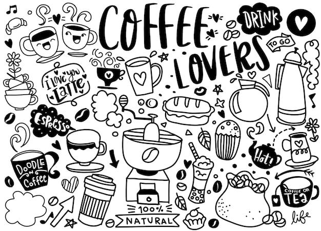 Conjunto de café dibujado a mano y deliciosos dulces. ilustración vectorial Vector Premium