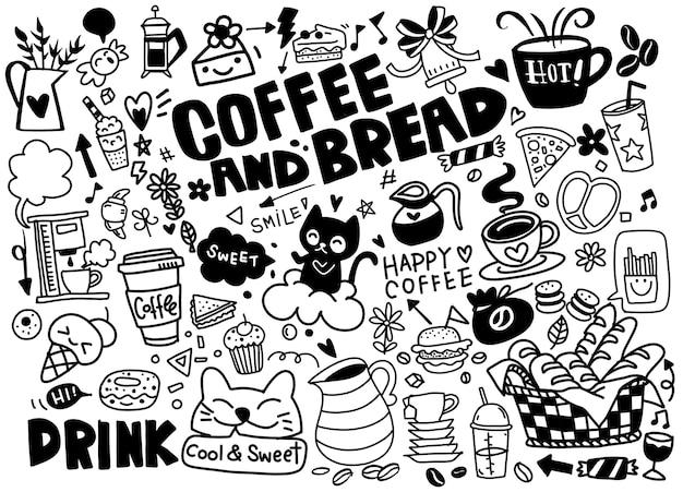 Conjunto de café dibujado a mano y deliciosos dulces. ilustración Vector Premium