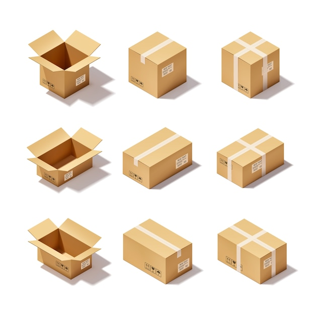 Conjunto de caja de cartón vector gratuito