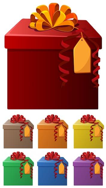 Conjunto de cajas presentes en diferentes colores. vector gratuito