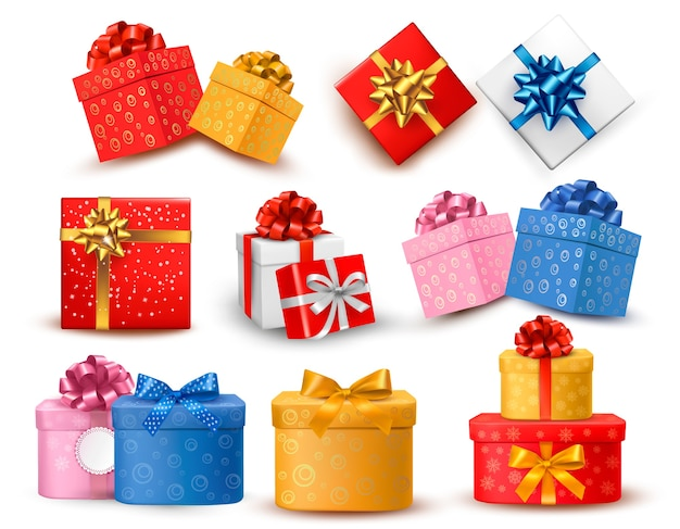 Conjunto de cajas de regalo de colores con lazos y cintas. Vector Premium