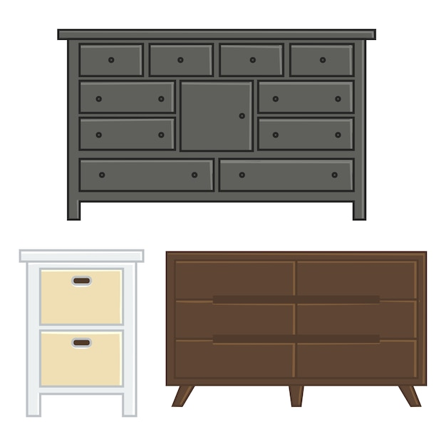 Conjunto de cajones y gabinetes de ilustración vectorial para estilo de diseño plano interior del hogar Vector Premium