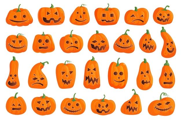 Conjunto de calabaza de halloween Vector Premium