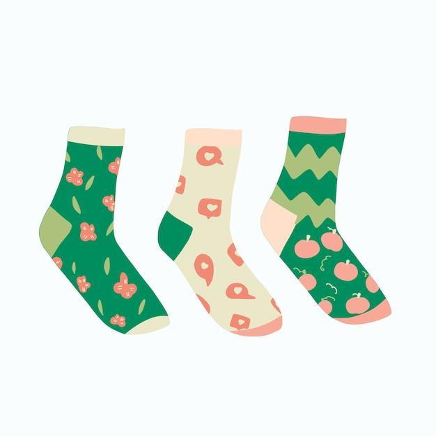 Conjunto de calcetines dibujados a mano Vector Premium