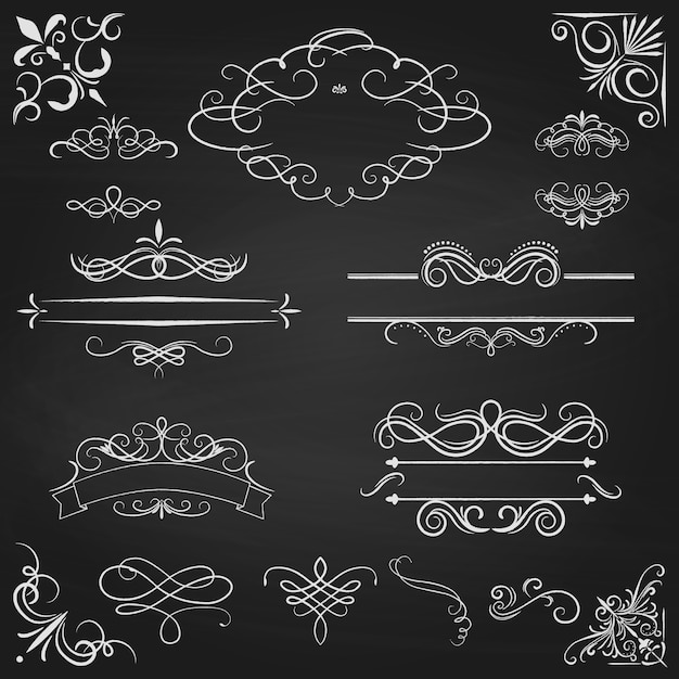 Conjunto caligráfico de fronteras vintage Vector Premium