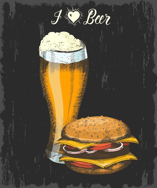 Conjunto con cáliz dibujado a mano de cerveza y hamburguesa. letras hechas a mano. bosquejo. objetos de oktoberfest para menú, póster, pancarta Vector Premium