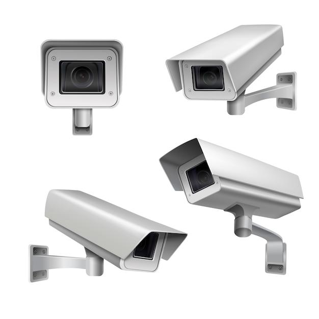 Conjunto de cámaras de vigilancia. vector gratuito