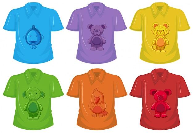 Conjunto de camiseta diferente vector gratuito