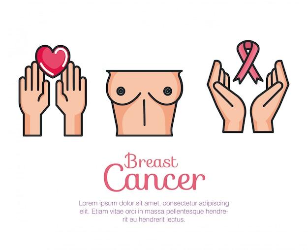 Conjunto de cáncer de mama vector gratuito