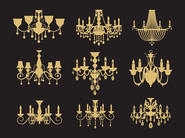 Conjunto de candelabros vintage aislado Vector Premium