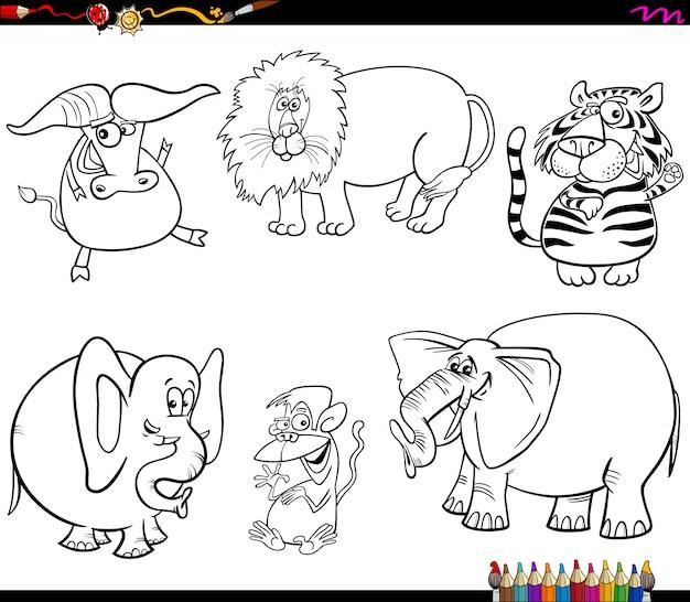 Conjunto de caracteres de animales salvajes para colorear libro ...