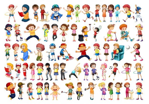 Conjunto de caracteres chikdren. vector gratuito