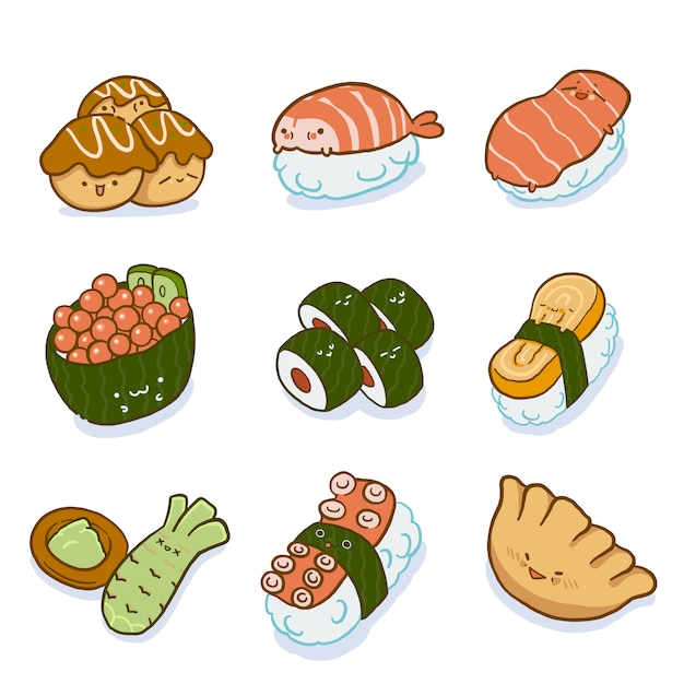 Conjunto de caracteres de comida japonesa Vector Premium