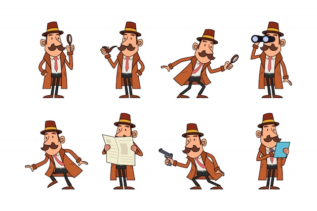 Conjunto de caracteres de detective Vector Premium