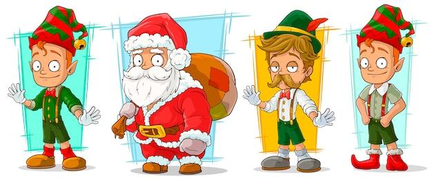 Conjunto de caracteres de dibujos animados de santa claus y elfo Vector Premium