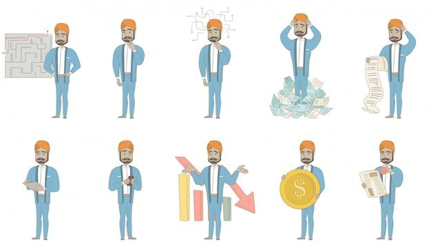 Conjunto de caracteres del empresario indio Vector Premium