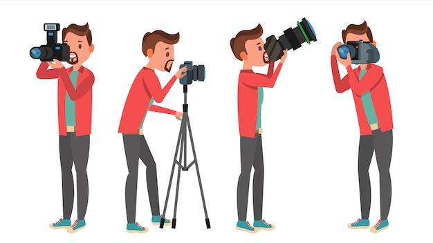 Conjunto de caracteres de fotógrafo profesional Vector Premium
