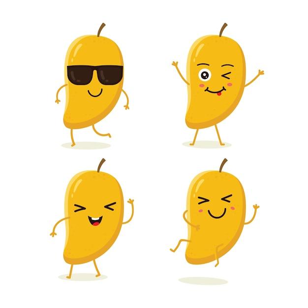Conjunto de caracteres de fruta de mango en emoción de acción diferente Vector Premium