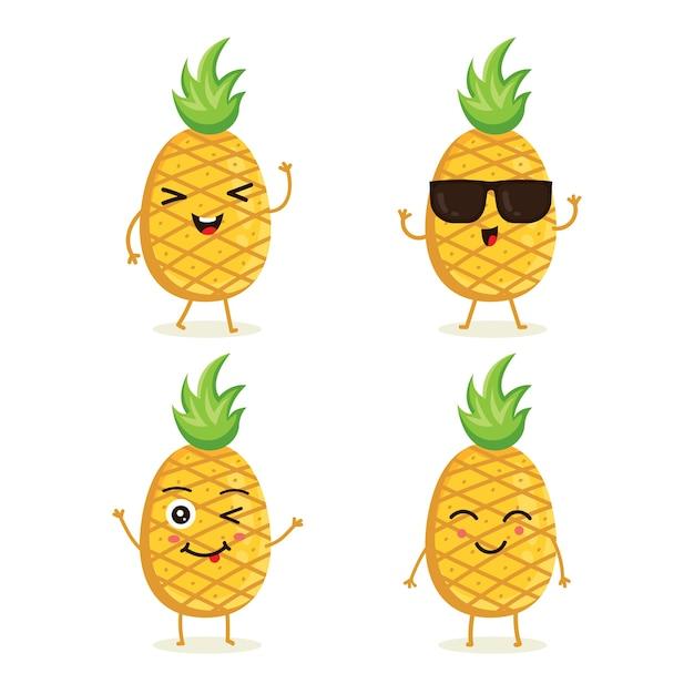 Conjunto de caracteres de fruta de piña en emoción de acción diferente