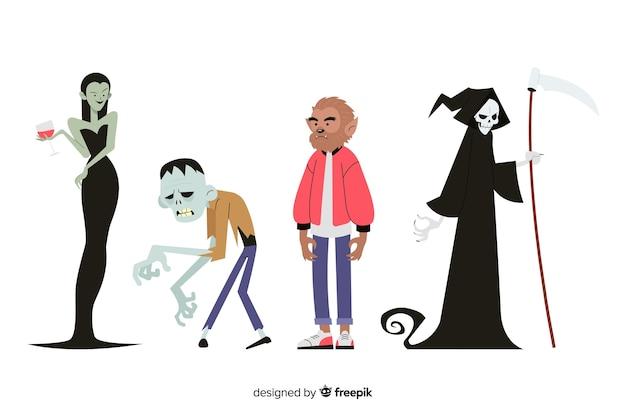 Conjunto de caracteres de halloween plana vector gratuito