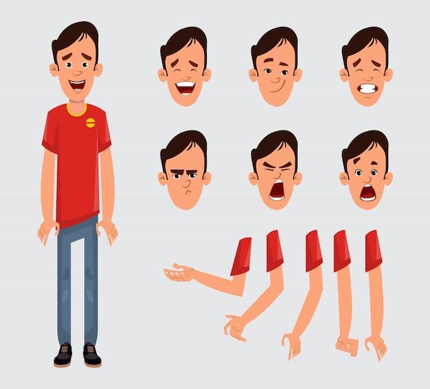 Conjunto de caracteres de hombre joven para su animación, diseño o movimiento con diferentes emociones faciales y manos. Vector Premium