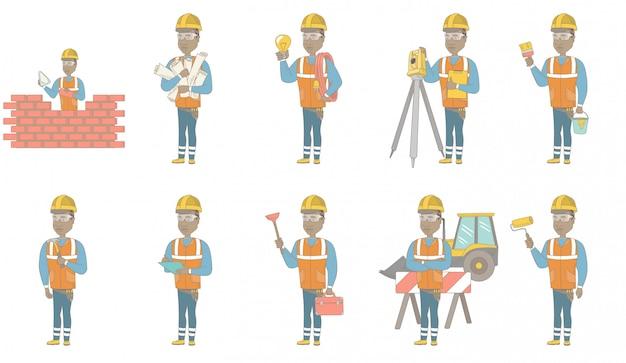 Conjunto de caracteres de joven constructor africano Vector Premium