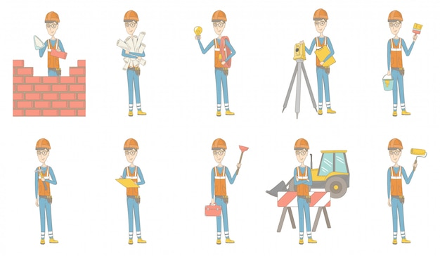 Conjunto de caracteres de joven constructor caucásico Vector Premium