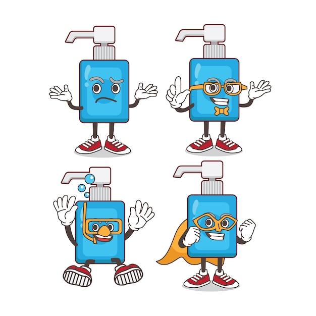 Conjunto de caracteres de mascota de dibujos animados desinfectante de manos Vector Premium