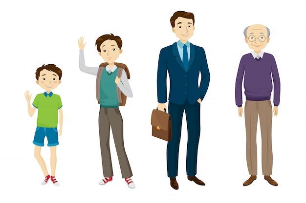 Conjunto de caracteres masculino de diversas edades. vector gratuito