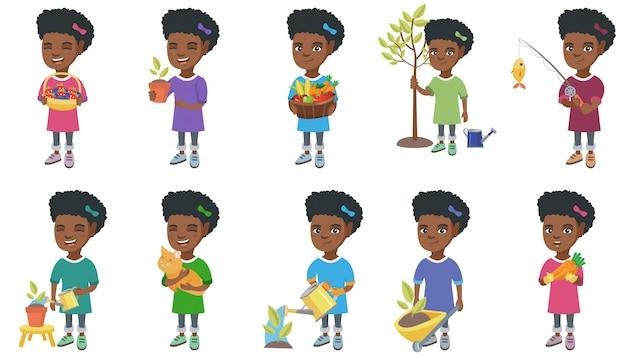 Conjunto de caracteres de niña africana Vector Premium