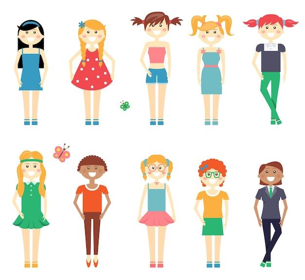 Conjunto de caracteres de niñas divertidas sonrientes con niñas de la escuela en vestidos cortos y pantalones pelirroja rubia y morena con diversos peinados aislados en blanco vector gratuito