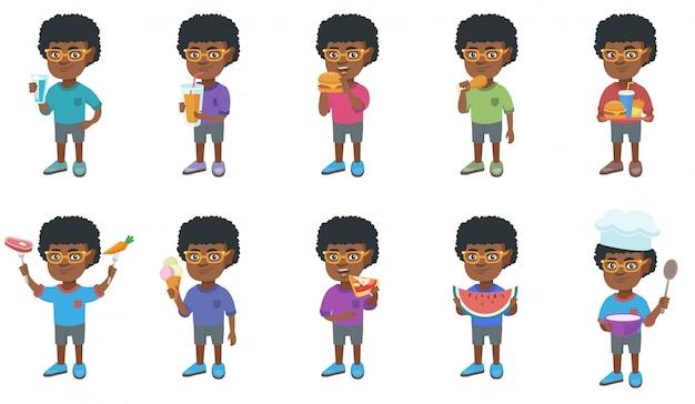 Conjunto de caracteres de niño africano pequeño Vector Premium