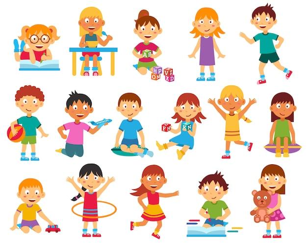 Conjunto de caracteres para niños vector gratuito