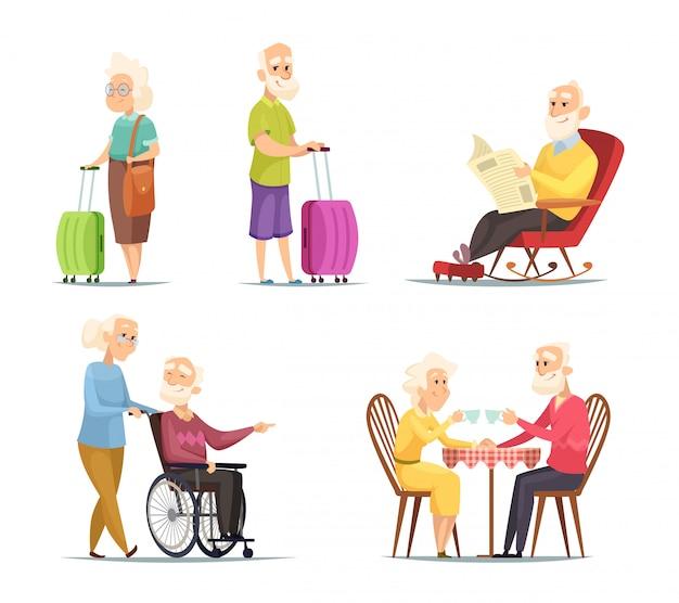 Conjunto de caracteres de personas mayores Vector Premium