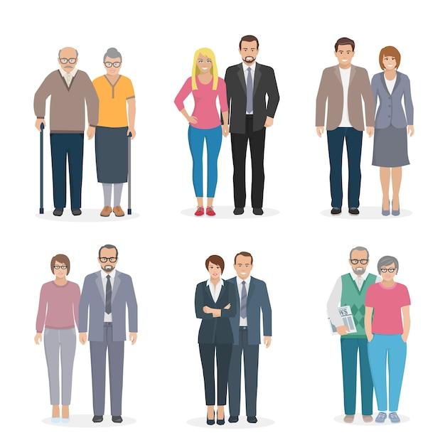 Conjunto de caracteres que representa a una pareja familiar en la ilustración de vector de diferentes edades Vector Premium