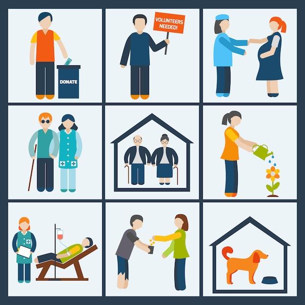 Conjunto de caracteres de servicios sociales. Vector Premium
