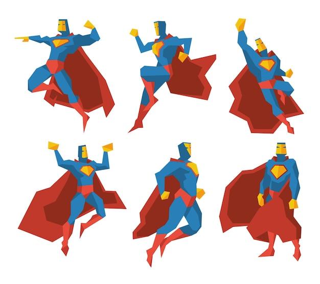 Conjunto de caracteres vectoriales de siluetas de superhéroes. superpoder, fuerza poligonal hombre multifacético ilustración vector gratuito