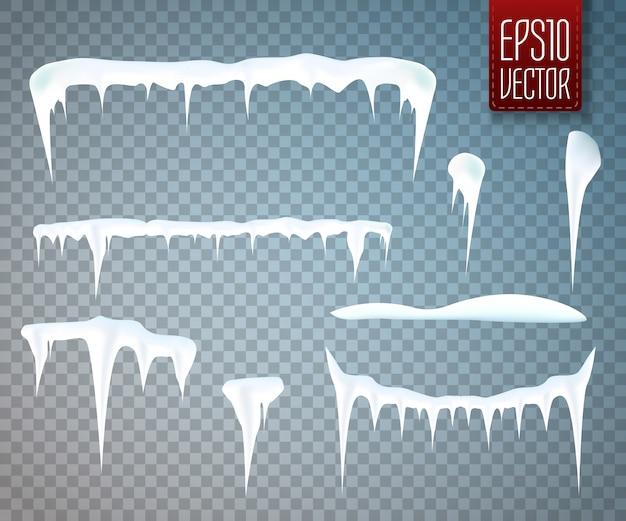 Conjunto de carámbanos de nieve aislado sobre fondo transparente. ilustración vectorial Vector Premium