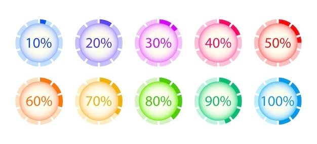 Conjunto de carga circular. descargas de progreso en porcentaje. elementos Vector Premium