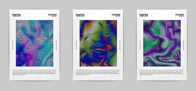 Conjunto de carteles abstractos modernos. colección de portadas. coloridas rayas brillantes, gradientes vívidos. Vector Premium