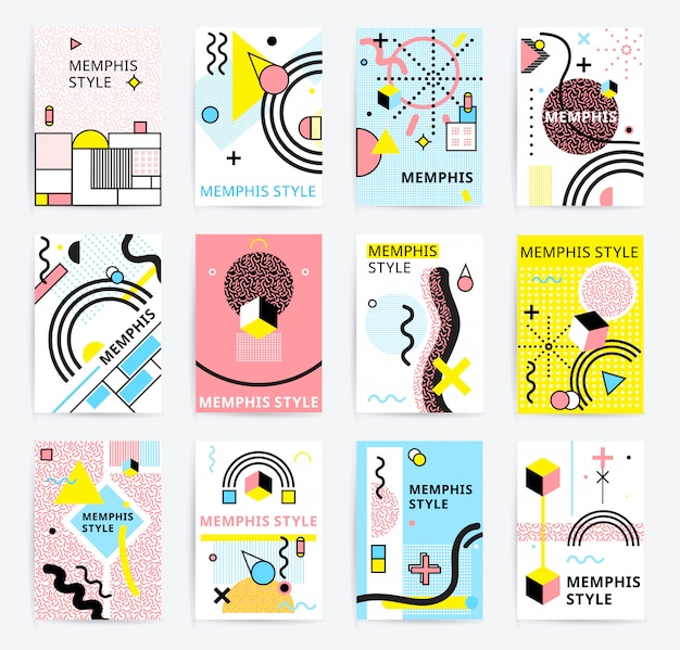 Conjunto de carteles de estilo memphis vector gratuito