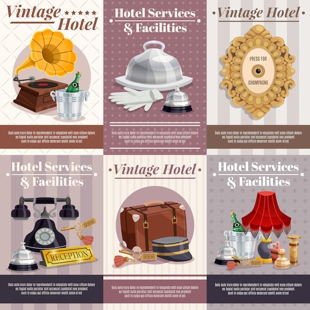 Conjunto de carteles de hotel vintage vector gratuito