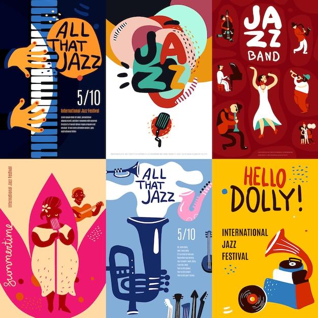 Conjunto de carteles de jazz vector gratuito