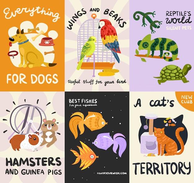 Conjunto de carteles y pancartas de mascotas vector gratuito