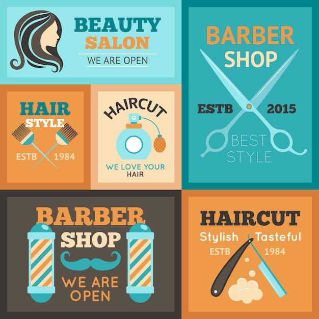 Conjunto de carteles de peluquería vector gratuito