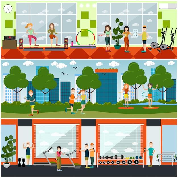 Conjunto de carteles planos de gimnasio, pancartas Vector Premium