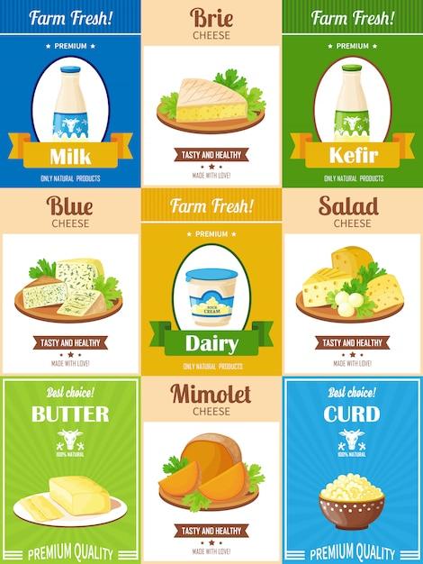 Conjunto de carteles de productos lácteos vector gratuito