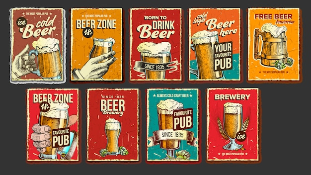Conjunto de carteles publicitarios de la colección de cerveza Vector Premium