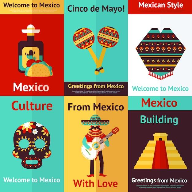 Conjunto de carteles retro de mexico. bienvenido a mexico. cinco de mayo. Vector Premium