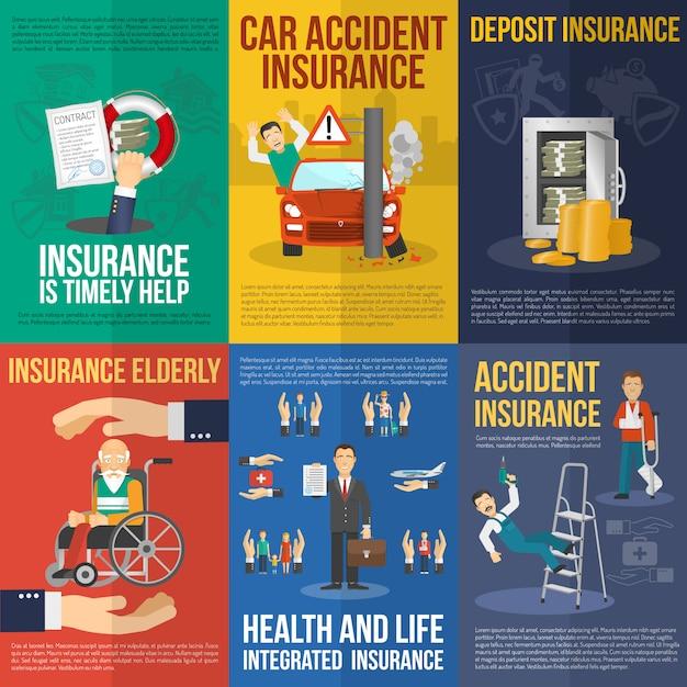 Conjunto de carteles de seguros vector gratuito